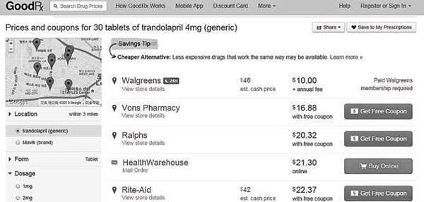 b7c3e9a5a44 처방약 가격 비교 웹사이트에서 한인타운 인근  트란돌라프릴 의 가격을 비교해본 결과.